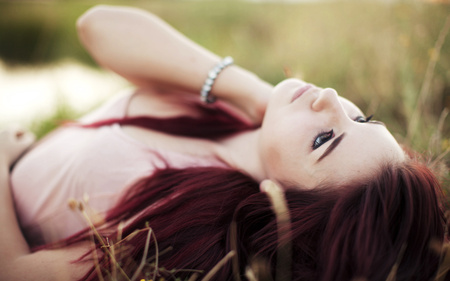 Daydreamer - red, hair, models, people, beautiful, field