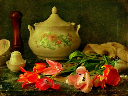 Tulips And China - salt shaker, sugar bowl, table, still life, flowers, pepper mill, tulips, cups