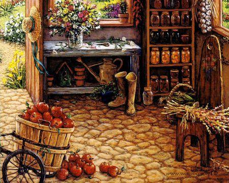 Janet Kruskamp - apple, painting, fruit, janet kruskamp, art, table