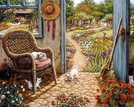 Janet Kruskamp - art, janet kruskamp, painting, flower, path, chair, cat, kitten