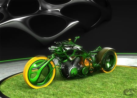 Green Sporty Chopper - chrome, chopper, motorcycle, sporty