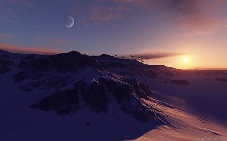 Winter in mountain - sunset, snow, winter, mountain