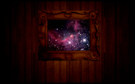 picture this - photo, stars, colorful, planets, frame, space, abstract, picture, dark, sci fi, beauty, wood