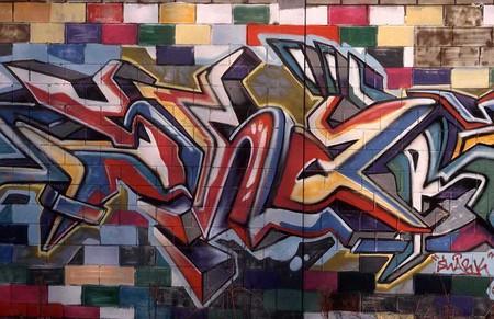 Graffiti Blue Red Yellow Green White Graffiti Abstract