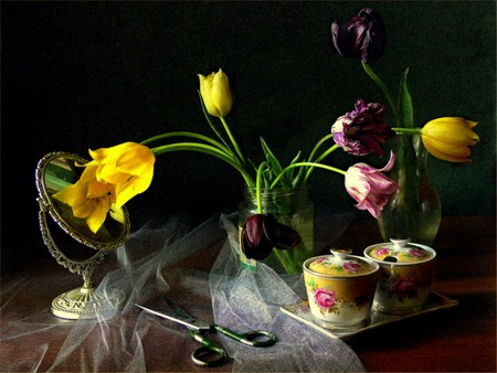 Delicates - flowers, tray, china, scissors, tulips, vase, creamer, table, mirror, still life, sugar bowl