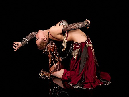 time to belly dance - woman, dancer, dark, female, black, dance, red, belly dance