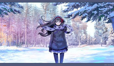 Winter wonderland akira anime background wallpapers on - Winter anime girl wallpaper ...