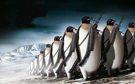 penguin war - animal, cold, war, guns, funny, ammo, humor