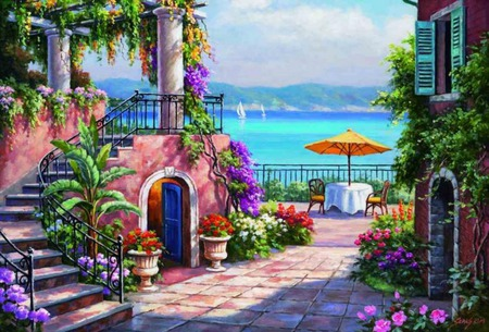 Sea View - fence, table, courtyard, columns, houses, ocean, shoreline, umbrella, clouds, water, mountains, yellow umbrella, chairs, flowers, steps