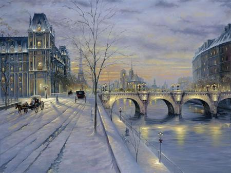 Winter In Paris - paris, snow, river, bridge
