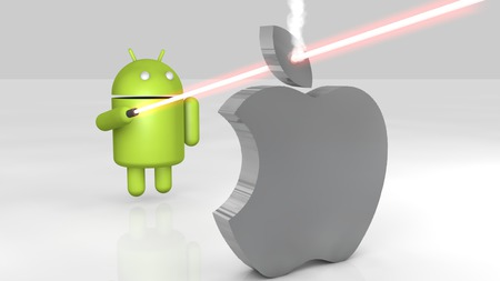 Android vs Apple - apple, droid, iphone, ipad, 3d, android