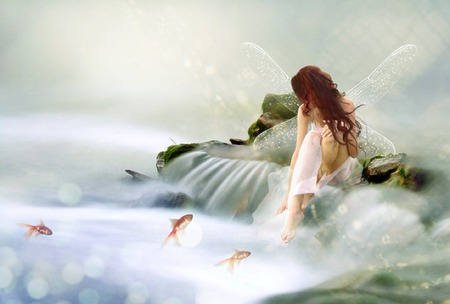 Twilight Garden - water, redhead, fish, waterfall, beauty, beautiful, fantasy, woman, fairy, clouds, girl, goldfish, rocks