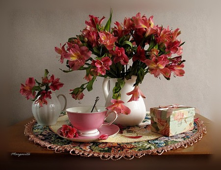 Complement - pretty, doily, saucer, lace, vase, box, beautiful, unity, flowers, lilly, pink, harmony, spoon, lillies, cup, peaceful, petals
