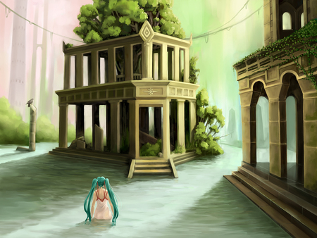 Forgotten Shrine - pretty, cg, nice, shrine, anime, temple, aqua, beauty, anime girl, vocaloids, realistic, art, twintail, real, black, miku, singer, trees, aqua eyes, cute, water, hatsune, cool, porch, digital, awesome, white, idol, artistic, colorful, dress, hatsune miku, rainbow, beautiful, program, green, submerged, vocaloid, realism, music, diva, song, girl, bird, virtual, crow, aqua hair