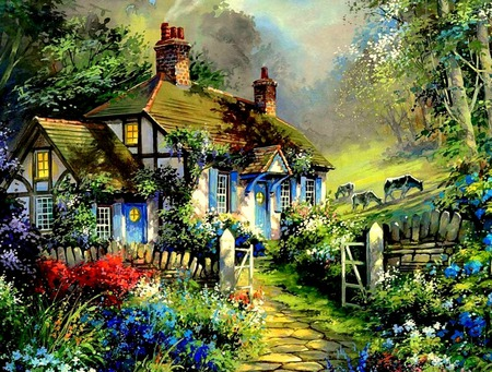 Hillside Cottage - hills, fence, cottage, cobblestone walk, trees, countryside, plants, flowers, garden, pasture, animals, cows