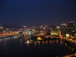 Lighted Skyline Pittsburgh Pennsylvania  USA