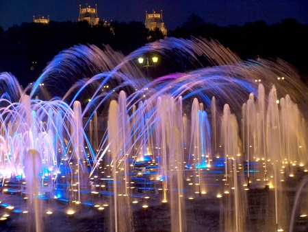 Amazing show - architecture, amazing, moscow, fountain, russia, lights, night