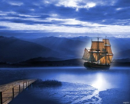 Night anchor - shore, ocean, clouds, sailing ship, blue, night