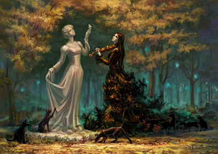 Muse - cg, cats, white, abstract, goth, gothic, image, forest, dogs, nymph, dress, woman, violin, color, digital, pic, colour, music, trees, 3d, statue, girl, sad, art, artwork, black, picture