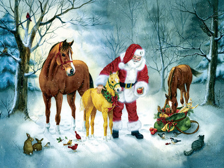 a christmas gathering f5mp horses animals background. Black Bedroom Furniture Sets. Home Design Ideas