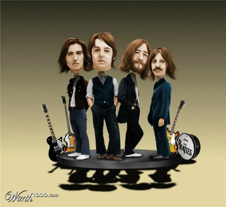 Beatles Bobble Heads - art, cool, music, photoshop, fun, guitars