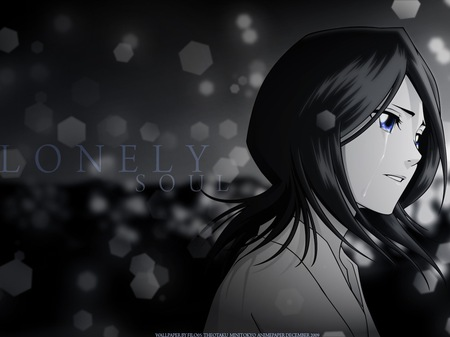Sad Rukia - bleach, pretty, beutiful, sadness, lonely soul, anime, sad, blue eyes, rukia, black hair