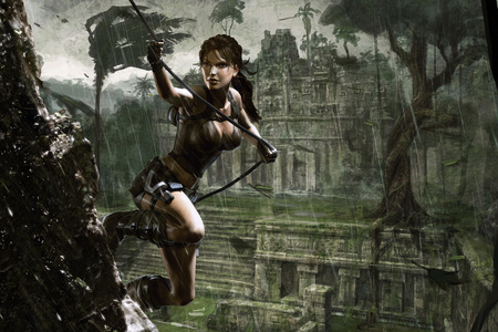 Underworld - lara croft, adventure, video game, fantasy, rain, female, tomb raider, underworld, action, girl