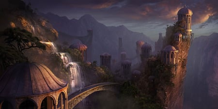 Magic Stadt - castles, fantasy, sky, water, magic, abstract, 3d, architecture