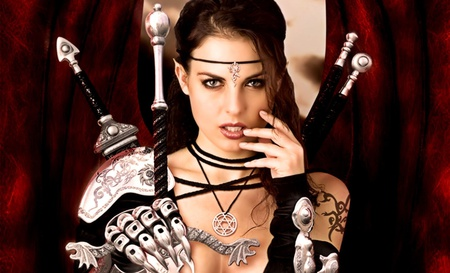You can not break me - stare, necklace, tattoo, strugle, lips, winner, warrior, strong woman, girl, face, lady, dagger, sword