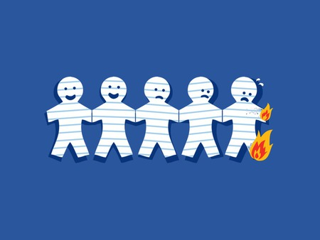 Paper Man On Fire - man, happy, fire, cool, random, anime, note, funny, paper, blue