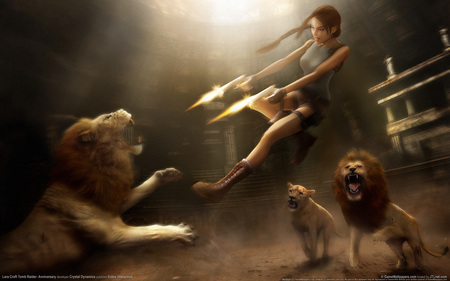 Lara Croft - gun, fire, tomb raider, lion, video game, lara croft, fantasy, anniversary, adventure, action