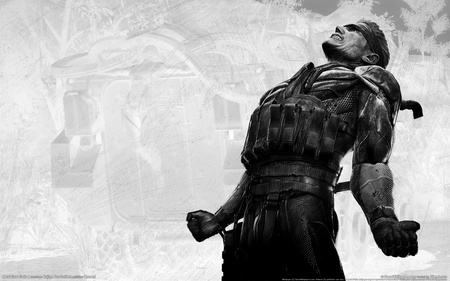 Crave - hd, soldier, fighter, metal gear solid 4, guns of the patriots, black and white, video game, metal gear solid, crave, adventure