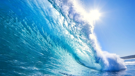 Crystal Blue Waves - pretty, stunning, sun, ocean, beautiful, waves, sky, sea, beach, water, summer, nature, crystal, blue