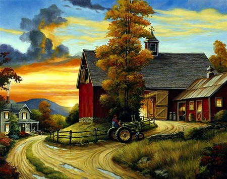 Dinnertime - tractor, road, farm, man, trees, grasses, houses, barns, clouds, barn, fence