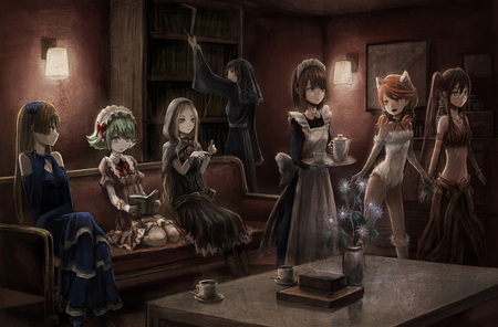 group of maids - catgirl, animal, group of maids, ears, book