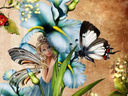 Faerie and Butterfly - faerie, ladybug, butterfly, fairy