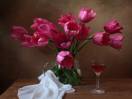 Tulips - with love, pretty, vase, beautiful, still life, photography, flowers, beauty, pink tulip, tulips, for you, pink, tulip, lovely, romantic, romance, wine, purple tulips, glass, pink tulips, vine, nature, white