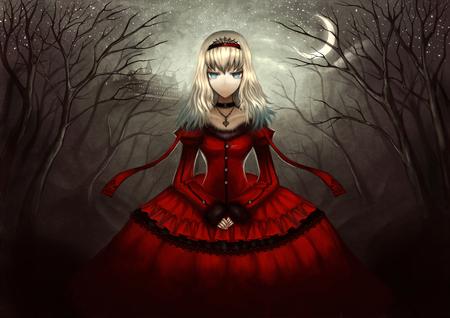 Alice in Wonderland - red dress, blonda hair, alice in wonderland, dark, hold hand, close eyes, alice, moon, alone, fear, female, night, anime girl