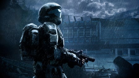 Halo 3: ODST - hd, mission, video game, halo, dark, odst, halo 3- odst, adventure, weapon, rain, action