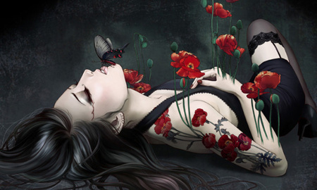 Kiss of the Butterfly - flowers, butterfly, drwn, abstract, gothic, beautiful, fantasy, girl, artwork