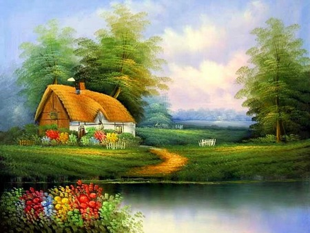 River Side Cottage - house, grass, cottage, thatched roof, trees, clouds, water, pathway, flowers, path, river