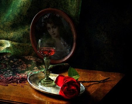 Red, Red Rose - photo, table, rose, curtain, picture, still life, glass, silver tray, tray, flower, wineglass, picture frame