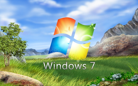 Windows 7 - grass, computer, microsoft, 7, sky, windows 7, nature, tehnology