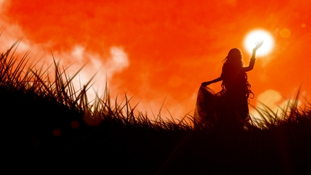 Light in the Sky - amazing, sun, colours, orange, pretty, grass, light, sky, girl, stunning, red, beautiful, enchanting