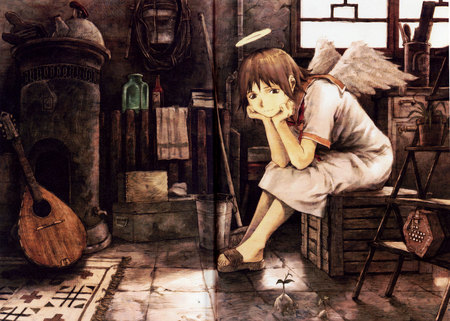 lonely - haibane renmei, manga, angles, wings