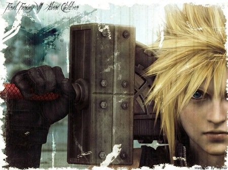 Cloud Strife - ff7, ffvii, cg, final fantasy 7, video games, gloves, spiky hair, anime, final fantasy, face, weapon, blue eyes, sword, cloud, advent children, blonde hair, final fantasy vii, cloud strife