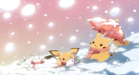 Snow - snow, pokemon, pichu, pikachu, winter