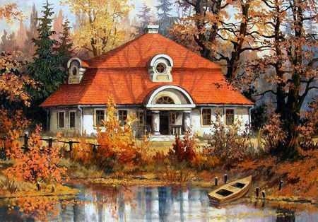 Stanislaw Wilk - painting, cottage, tree, art, nature, stanislaw wilk