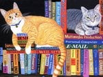 Cats on books * Mimi Vang Olsen