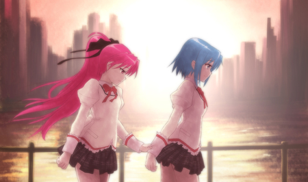 sorrow - pretty, sunlight, aime, on brigde, city, girl, blue hair, black ribbon, walking, river, pink hair, friends, school uniform